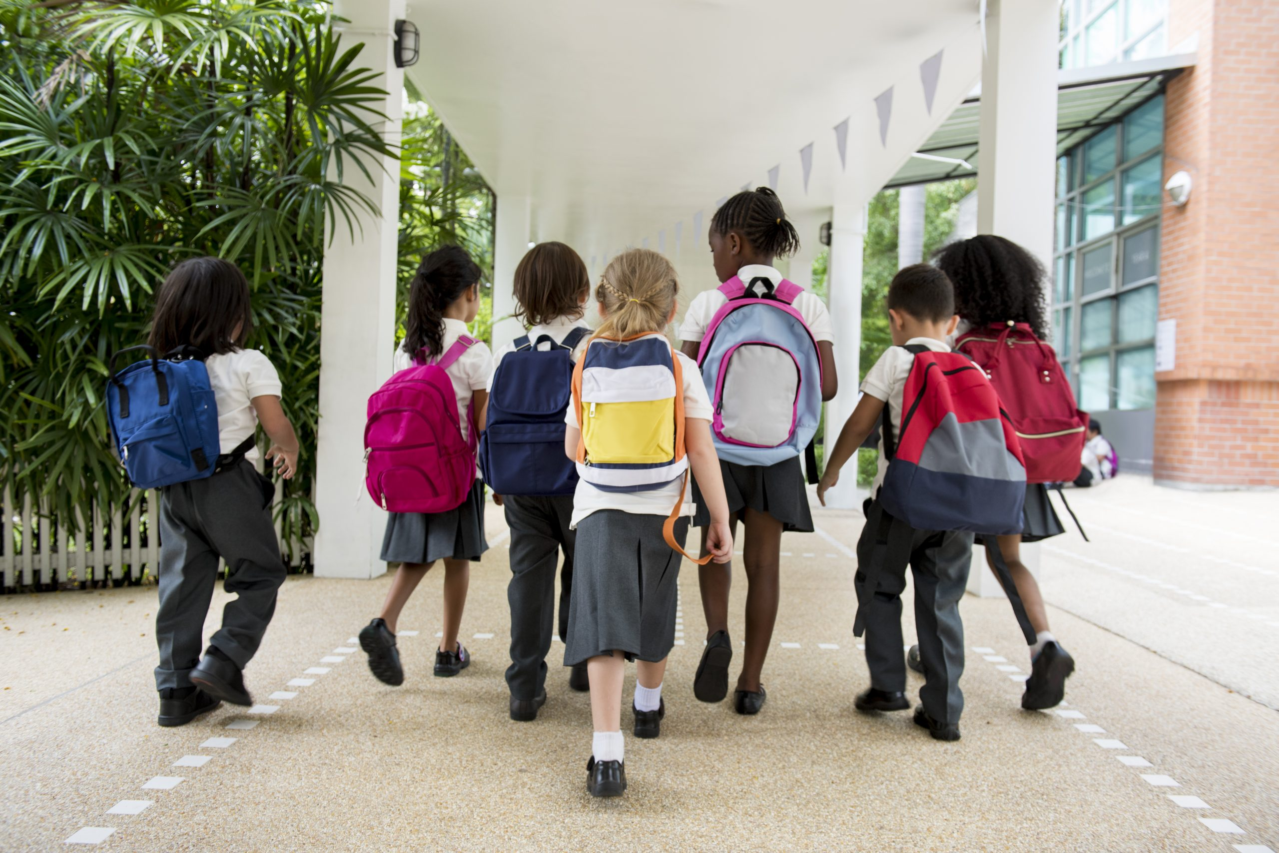 children with backpacks walk up to school